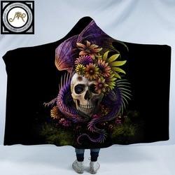 Flowery Skull by SunimaArt Hooded Blanket Flower Dragon 3d Printed Adults Kids Sherpa Fleece Wearable Throw Blanket Microfiber