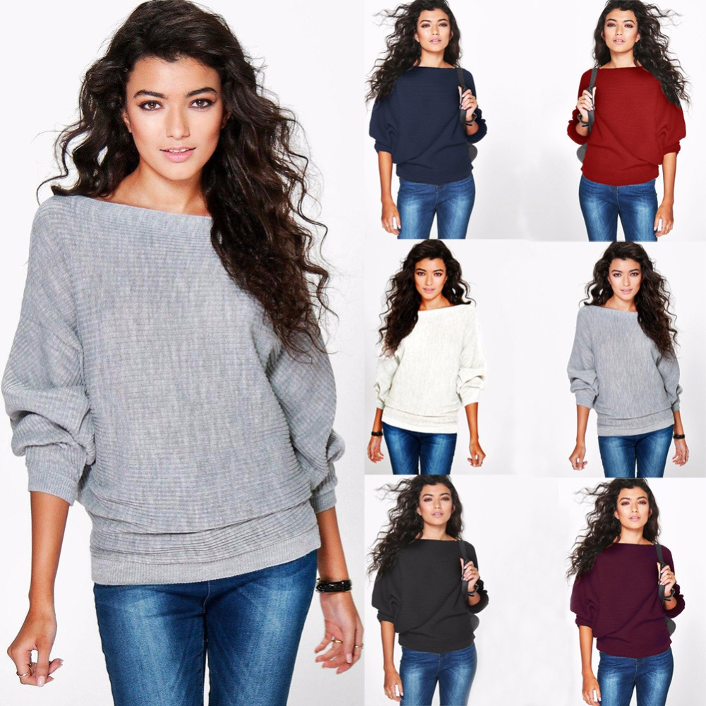 Autumn 2019 O-Neck Batwing Long Sleeve Women Casual Sweaters White Red  Knitted Pullover Loose 6a7d381c9
