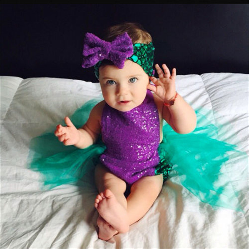 2017 Infant Baby Girls Clothes Little Mermaid sleeveless Bodysuit Tulle square collar Jumpsuit cotton casual Tops one pieces オフショル 水着 花 柄