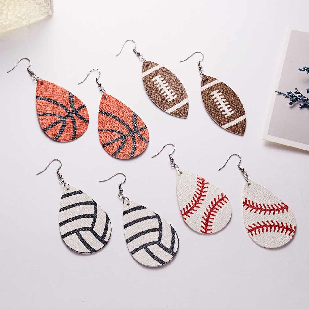 2019 Women's Baseball Faux Leather Earrings Women Sports Basketball Football Flag Moon Teardrop Dangle Pierced Earrings Jewelry