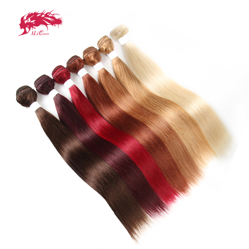 Ali Queen Hair Brazilian Remy Human Hair Weaves Bundles #613/#33/#30/#27/#99J/#BURG Straight Human Hair Extensions Hair Weft
