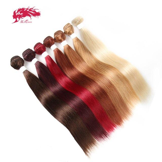 Ali Queen Hair Brazilian Remy Human Hair Weaves Bundles #613/#33/#30/#27/#99J/#BURG Straight Human Hair Extensions Hair Weft