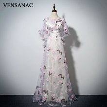 VENSANAC 2017 New A Line Lace Appliques V Neck Long Evening Dresses Half Sleeve Elegant Embroidery Party Prom Gowns