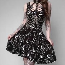 2019 New Star Moon Print Dress Summer Black Spaghetti Strap Sleeveless mini dress Elegant Party Dresses Suit Princess