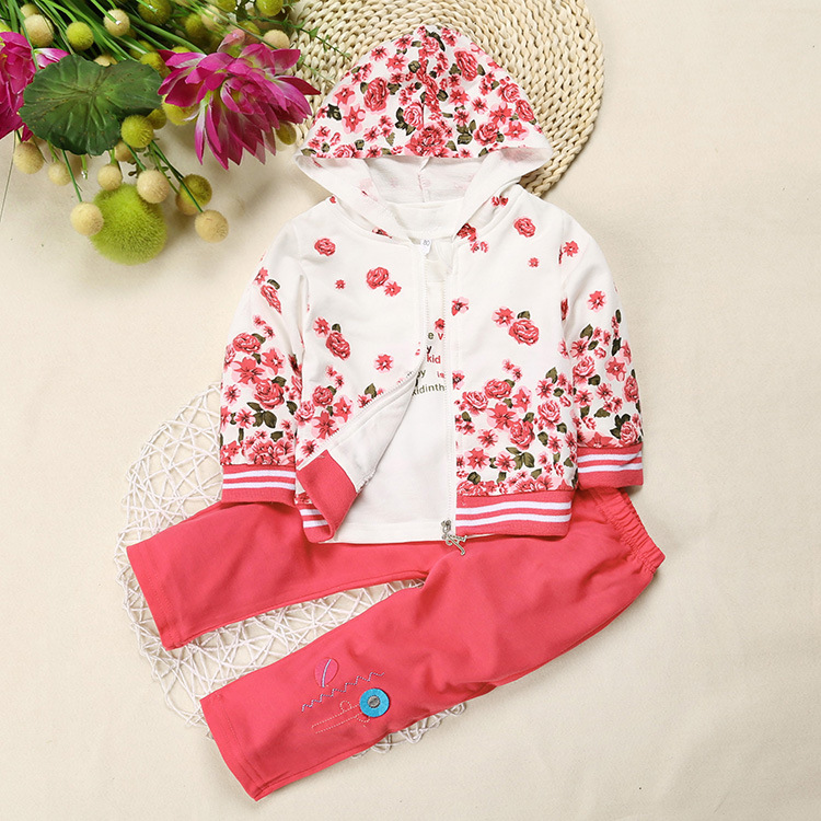 Flower Printed Baby Girls Autumn and Spring Hoodie Jacket  Baby Outfits Long Sleeve Tops Hot Pink Pants Floral Hoodie Baby Set 2017 new style spring autumn hoodie baby girl clothing set sequin lace long sleeve velour sports jacket long trousers outfits