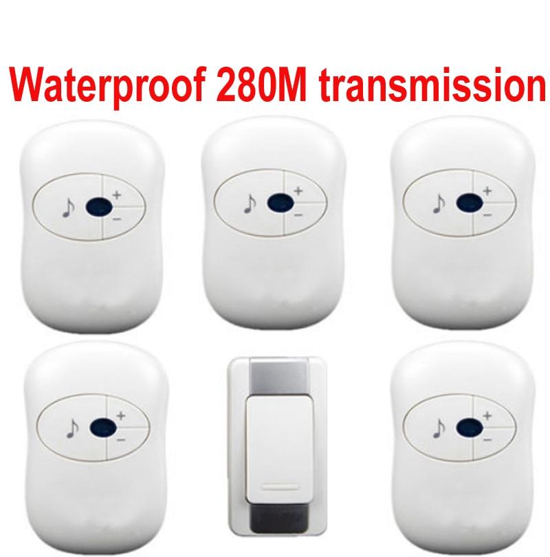 ФОТО 1 emitter+5 receivers doorbell Waterproof 280m work wireless doorbell,wireless door chime,wireless bell, 36 melodies door bell
