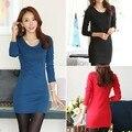 Корейских Женщин С Длинным Рукавом Платья О Шеи Мода Вязаный Свитер Платье Элегантный Карандаш Платье Платье Плюс Размер