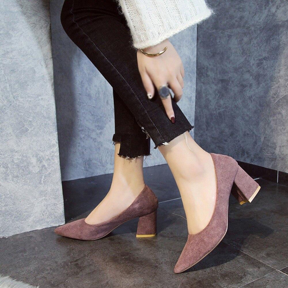 rosado Negro Cuero De Grueso Individuales Tacones Mujeres Zapatos Sapato Mujer Señaló Con Otoño Femin Rebaño Las 2019 Nuevas Damas Bombas qzRURH