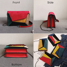 Colorful Patchwork Leather Messenger Bag for Women