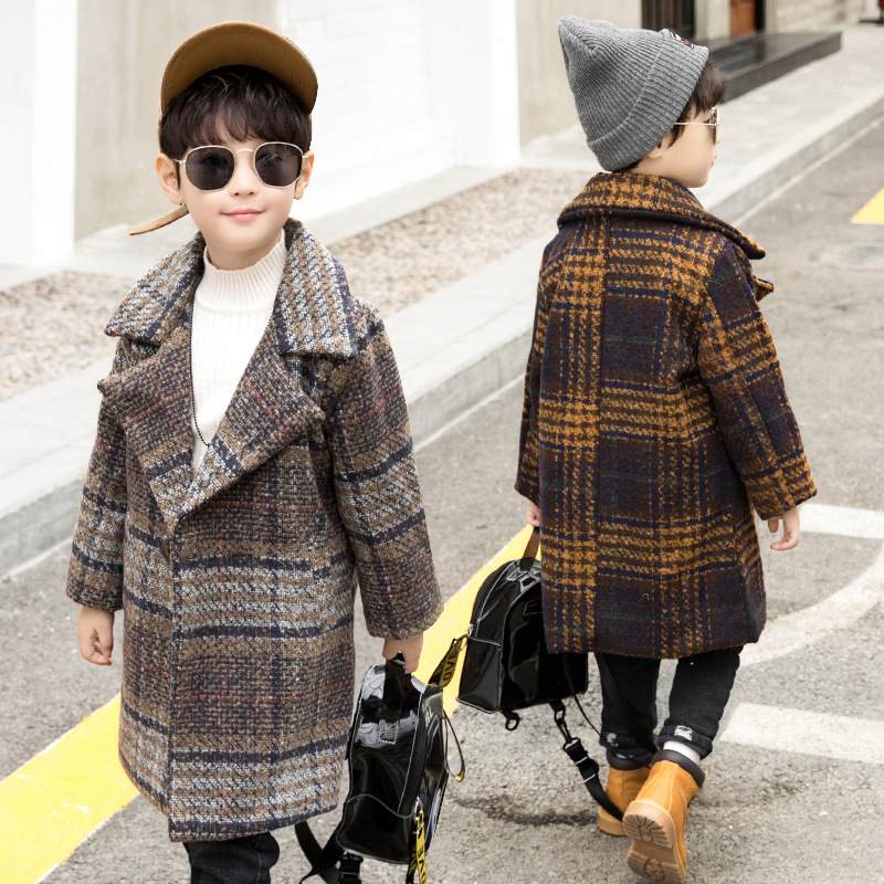 Boys 4-12 Years Hoodless Casual Faux Woolen Coat Winter Mid-long Korean Style Plaid CPattern Thick Warm Fashion JacketsBoys 4-12 Years Hoodless Casual Faux Woolen Coat Winter Mid-long Korean Style Plaid CPattern Thick Warm Fashion Jackets