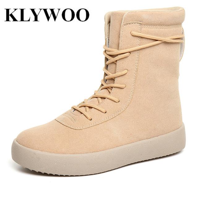 KLYWOO Homens Confortáveis Botas de Inverno Quente de Moda de Nova Ankle Boots de Couro Dos Homens Casuais Botas de Neve Sapatos de Inverno Amarelo Preto