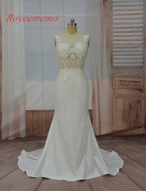 23ab5c6c91c 2017 hot sale special lace mermaid Wedding Dress sexy transparent top Bridal  gown custom made crepe