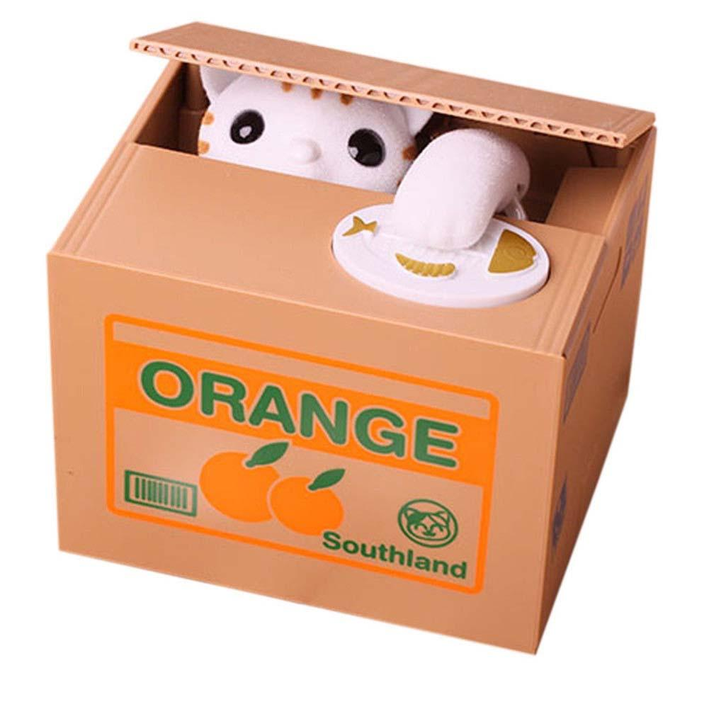 White cat panda automated steal coin money box piggy bank for Home money box