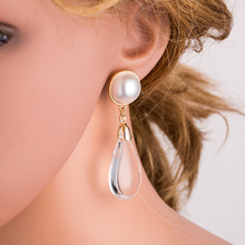 BK Women Dangle Earrings Trendy Elegant Created Simulated Pearl Long Pearls String Statement For Wedding Party Gift