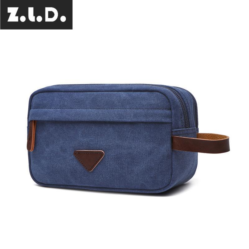 Z.L.D. New casual portable canvas wallet Solid color portable purse Storage key bag wash makeup bag Canvas Wallet Travel Wallet