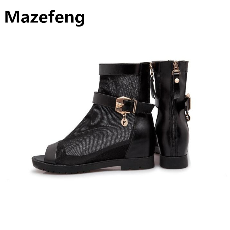 Summer Fish Mouth Casual Shoes Leather Mesh Flat Sandals Breathable Rome Boots Women Shoes A039 Chaussure Femme minika breathable mesh lace shoes women thick bottom shallow mouth women casual shoes slip on flat shoes women high quality