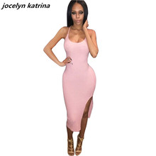 jocelyn katrina brand States sexy package hip condole belt driving fork club dress pink dress