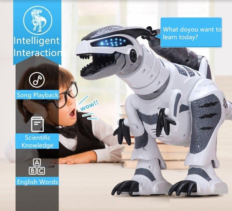 Gran venta de juguetes de dinosaurio inteligente Walking control remoto inalámbrico dinosaurio eléctrico biónico RC con sonido, música, baile, disparo - 5