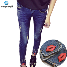 2017 spring new large size High with lace boyfriend jeans for women in high-waist stretch Slim straight casual lips feet pants