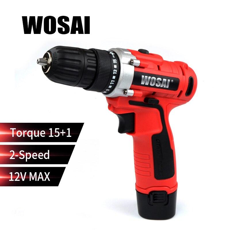 WOSAI 12 V Max Cacciavite Elettrico Trapano a batteria Mini Senza Fili di Alimentazione del Driver di CC Batteria Agli Ioni di Litio 2-Velocità