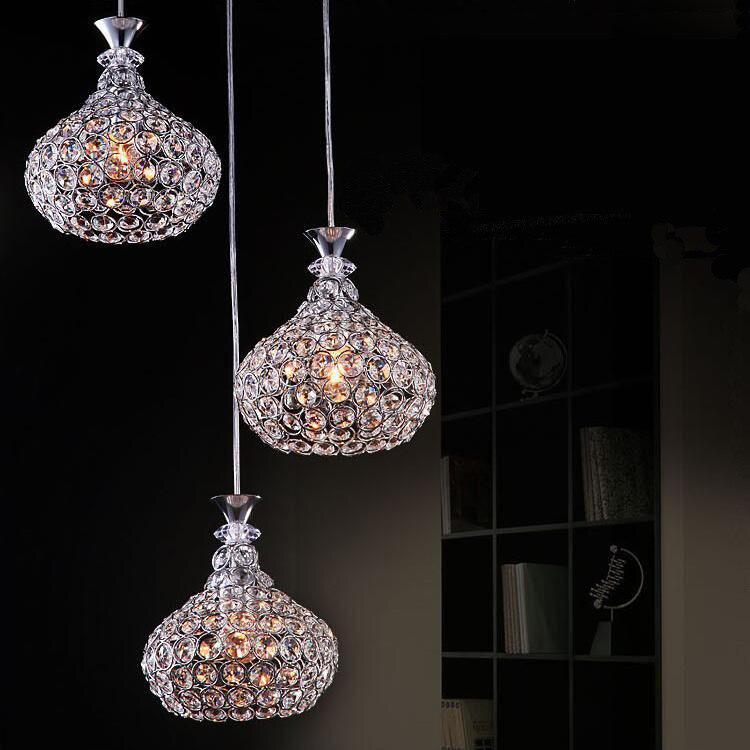 Современный хрустальный подвесной светильник стеклянный светильник креативный столовая свет три/одна голова светодио дный светодиодный д...