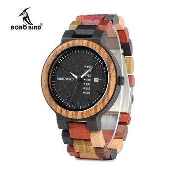 BOBO BIRD P14 montres en bois antiques pour hommes montre d'affaires avec affichage de la Date et de la semaine avec bande en bois de couleur mixte Unique