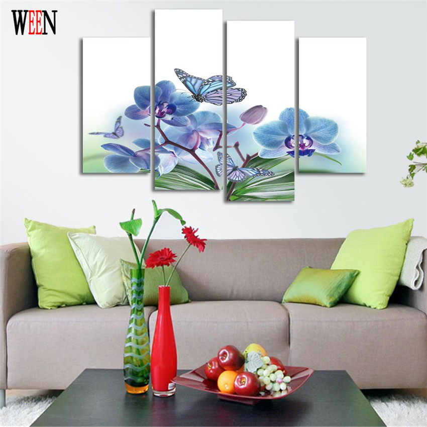 Flower and butterfly wall pictures for living room hd for Cadre floral mural