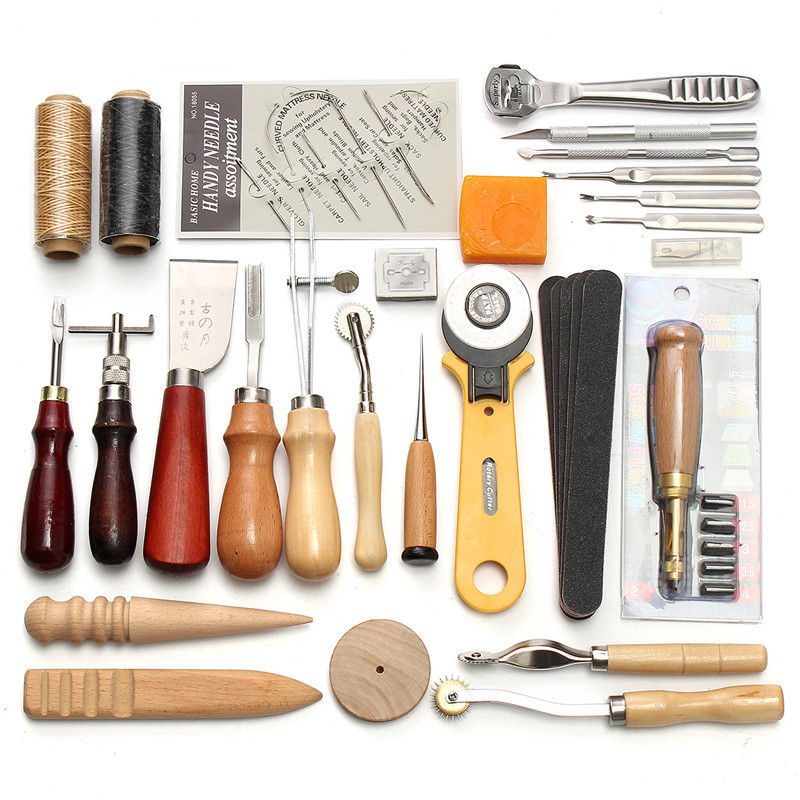 37 Pcs Leather Craft Tools Kit Hand Sewing Stitching Punch Carving Work Saddle DIY Hand Tool