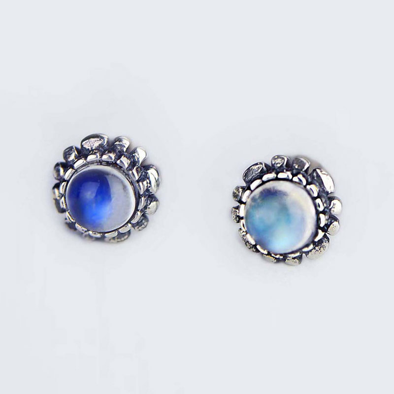 Natural Moonstone Earring 925 Silver Women Vintage Round S925 Thai Sterling Silver boucle d oreille Stud
