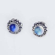 Натуральный Лунный Камень Серьги Серебро 925 Женщины Урожай Круглый S925 Тайский Серебро букле d'oreille Серьги