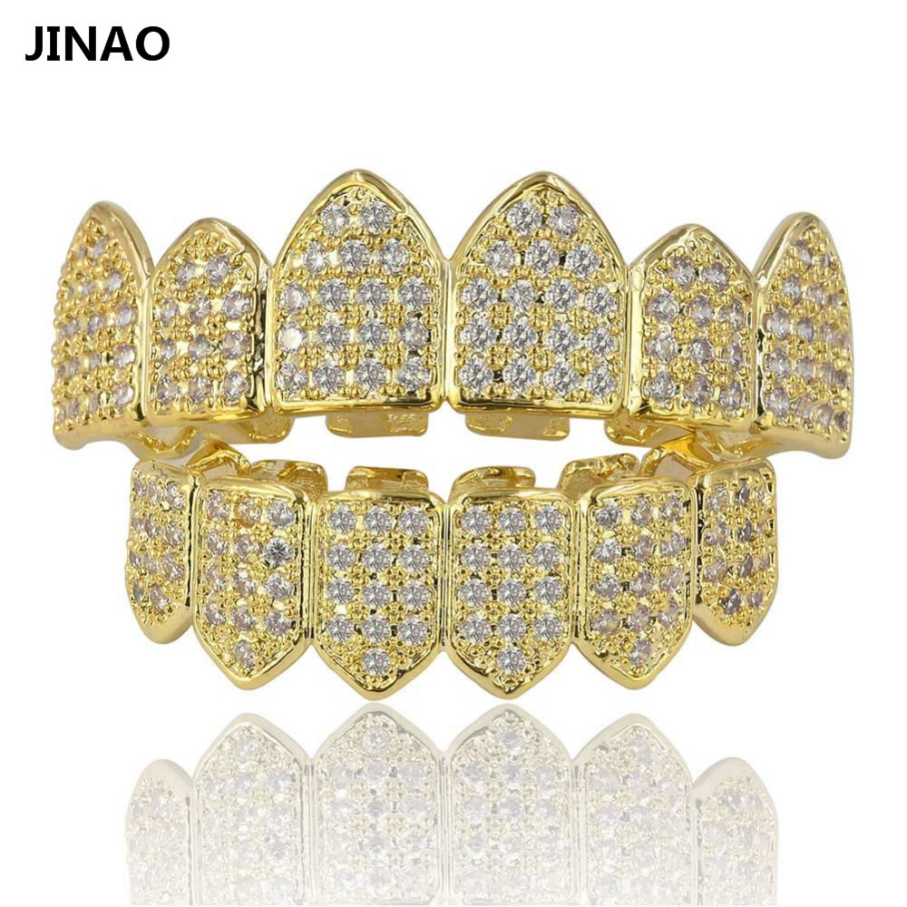 JINAO Hip Hop Teeth Grillz Pure Gold Color Plated Micro Pave CZ Stones Top Bottom GRILLZ