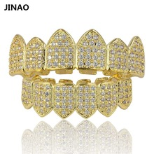 JINAO Hip Hop Teeth Grillz Pure Gold Color Plated Micro Pave CZ Stones Top & Bottom GRILLZ Mouth Teeth Grills Sets Ship From US