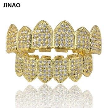 JINAO Hip Hop Grillz Dentes Pura Cor Banhado A Ouro Micro Pave CZ Conjuntos de pedras Top & Bottom Boca Dentes GRILLZ Grades Navio Dos EUA