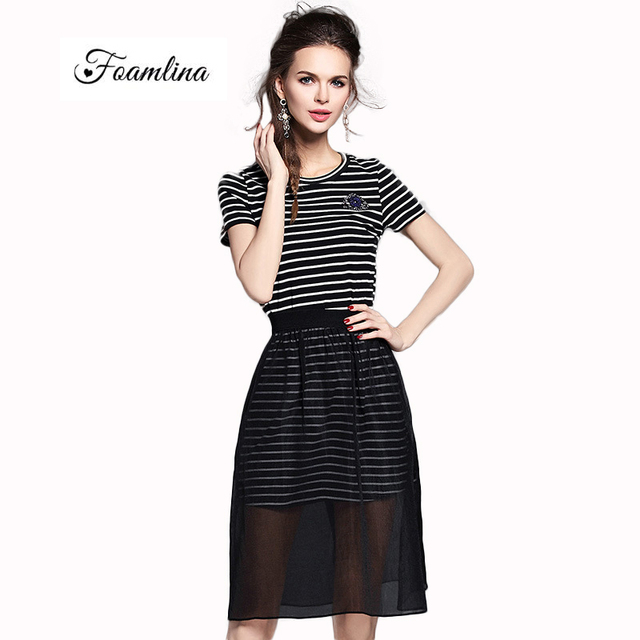 fa084a33ed96 New Summer Two Piece Set Women O-neck Short Sleeve White and Black Striped  Cotton Dress + See Through Sheer Mesh Skirt Suits
