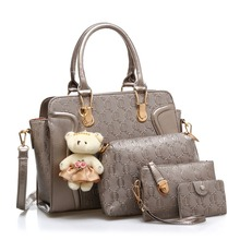 4 in 1 Fashion luxury designer krokodil pu-leder Tote + Schulterschultasche/Messenger + Clutches composite-taschen marke handtaschen set