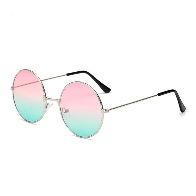 Vintage Round Sunglasses Women Big Red Lens Mirror Sunglasses Female Brand Design Metal Frame Circle Glasses Oculos UV400