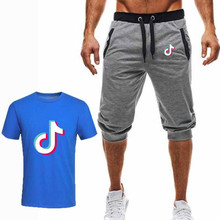 Summer brand T-shirt + shorts mens round neck fashion print sports suit casual shirt mensclothing