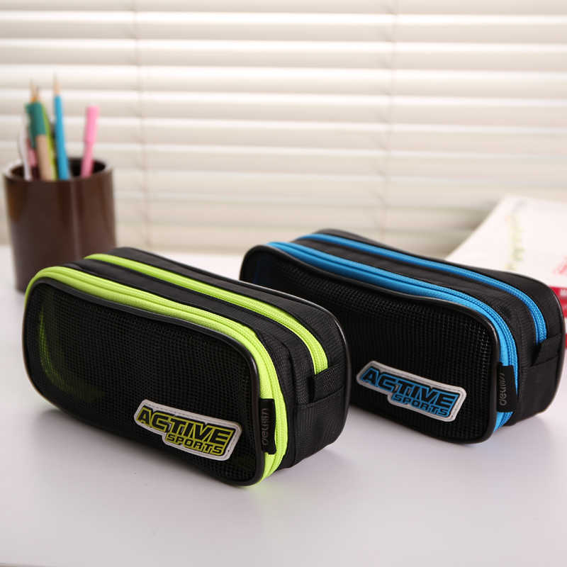 Hot Korea Larger Capacity Multifunctional Canvas Pencil Cases Double Zipper Pen Bags Box For Boys Girls School Stationery Pouch