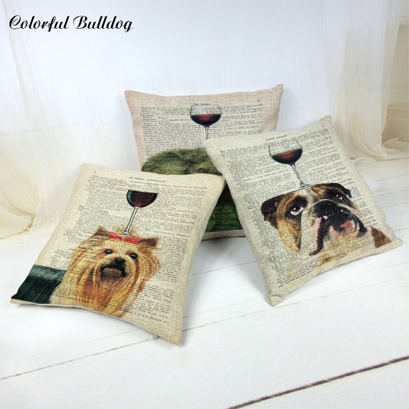 Car-covers Cushion Cover Animal Red Wine Linen Cotton 45*45CM Square Decor Home Throw Pillow Case 1 Side Print Almofadas Cojines