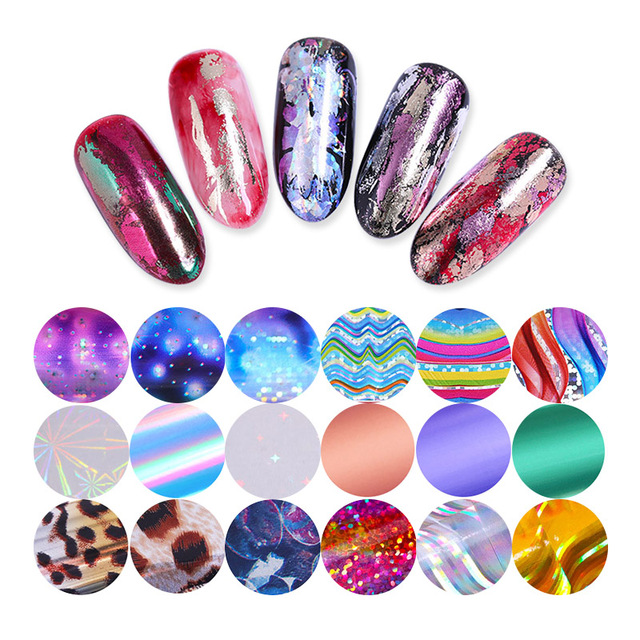 10 Pcs Holographic Nail Foil Set Transparent AB Color Nail Art Transfer Sticker 2.5*100cm Manicure DIY Holo Sticker Decoration