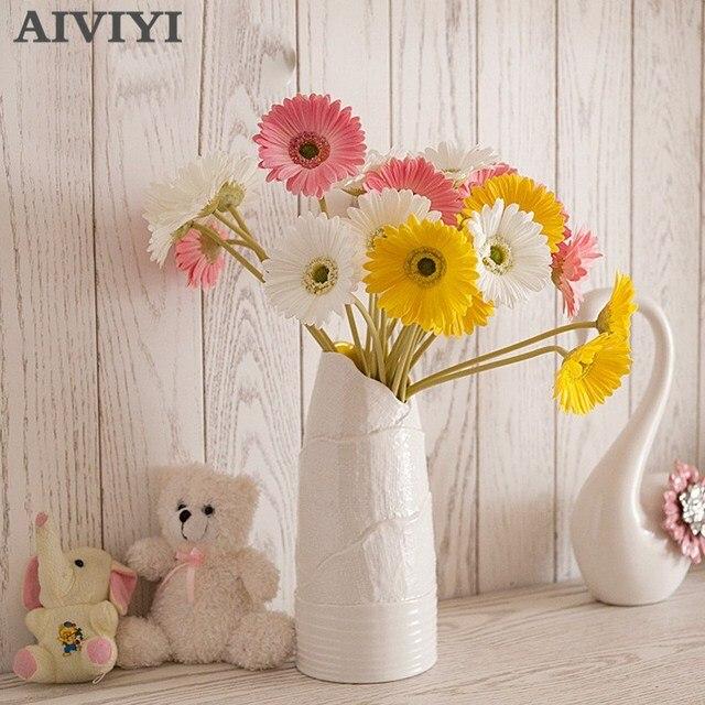 מלאכותי פרח PU מגע אמיתי גרברה פרח חמניות מזויף פרח מסיבת חתונת מתנות עיצוב הבית שולחן דקור