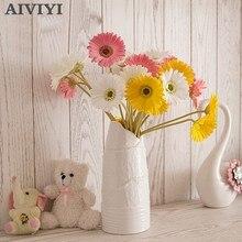 인공 꽃 pu 진짜 터치 gerbera 꽃 해바라기 가짜 꽃 웨딩 파티 선물 홈 인테리어 테이블 장식