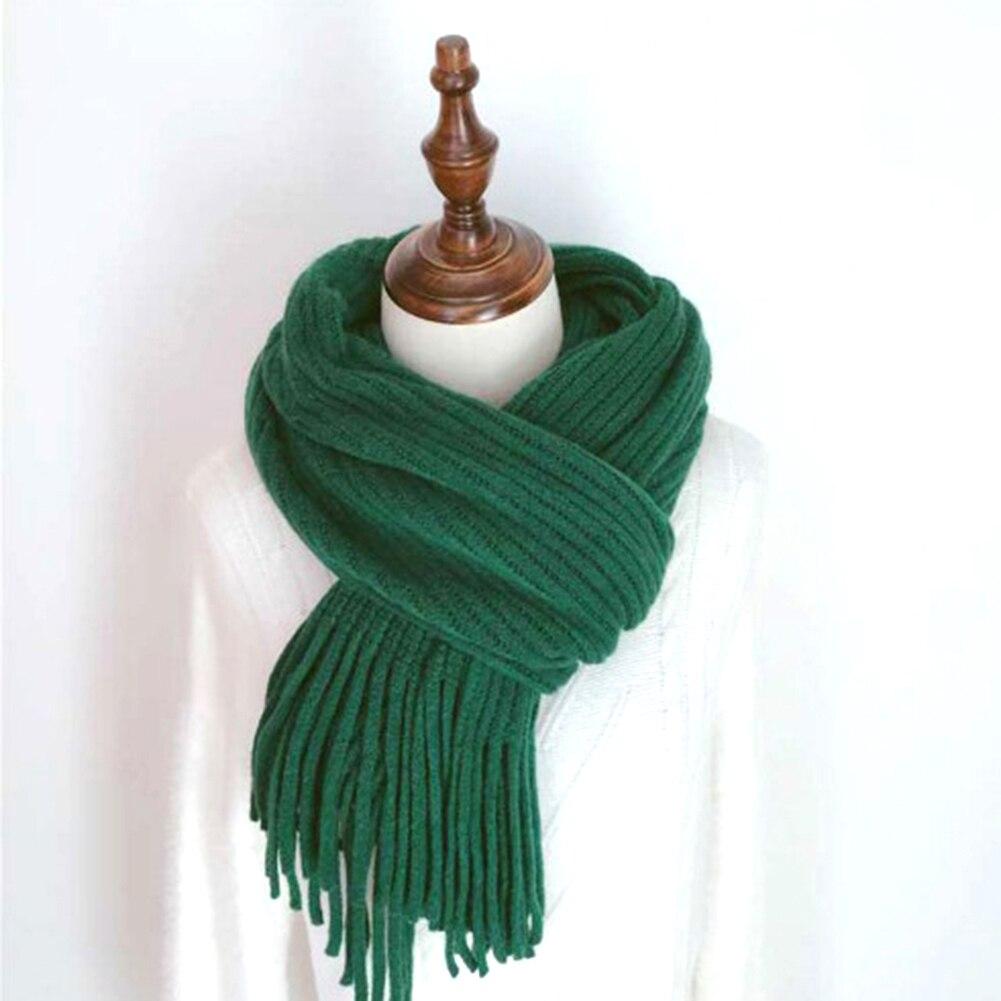 YJSFG HOUSE Fashion Women Winter   Scarf   imitation Cashmere   Scarf   Solid Long   Scarves     Wrap   Knit Shawl Tassels Warm Solid   Scarf   New