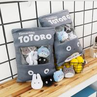 A Bag Of Plush Totoro Pudding Pillow Stuffed Soft 8 pcs Black Cat White Blue Totoro Plush Toys For Children Gift