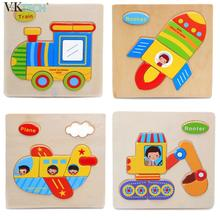 Baby Kids Cartoon Wooden Car Dimensional Block Toy Jigsaw Tangram Block Montessori Educational Intellectual Toy for Children