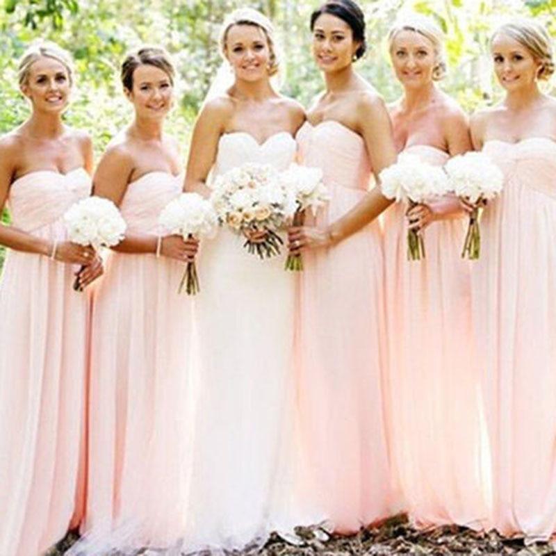 Sexy Sweetheart A-line Bridesmaid Dresses Pleats Chiffon Long Prom Dress