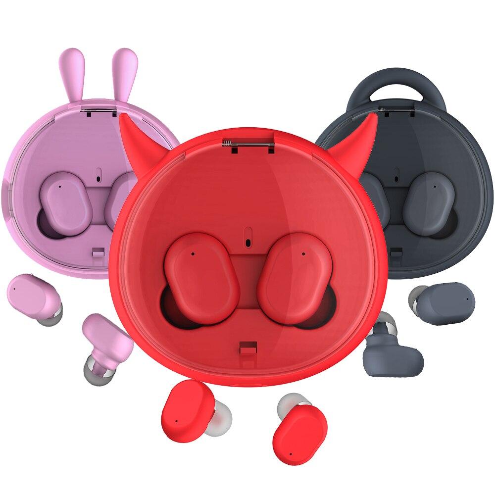 1000 MAH Bad Bunny Devil Charging Bin TWS Earphone In-ear Bluetooth 4.2 Sport Headset Touch Control Stereo Rabbit Earbuds
