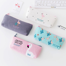 1PC Cute Flamingo Canvas Pencil Cases Stationery Storage Pen Bag Gifts School Office Pencil Bags Lovelty Pencil Pouch