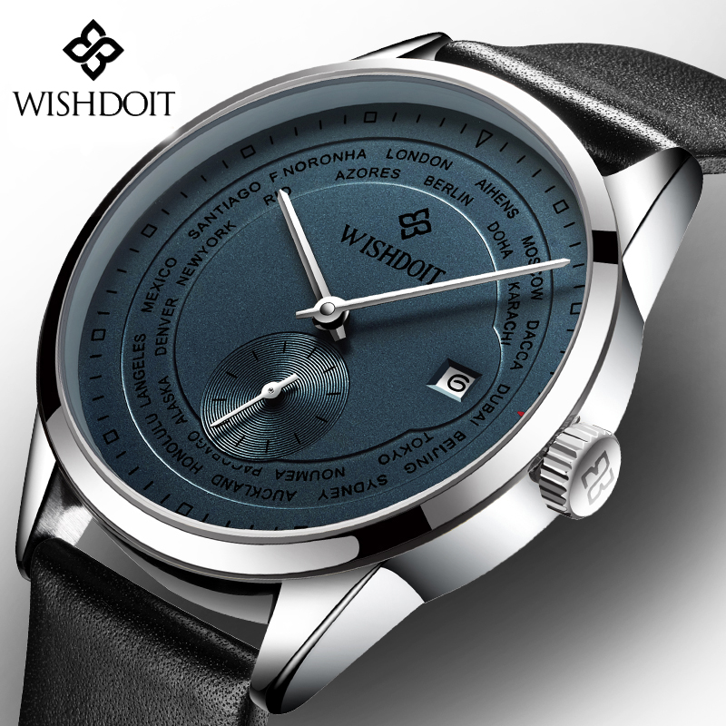 WISHDOIT Chronograph Casual Watches Men Luxury Brand Quartz Calendar Watch Male Sport Leather Wristwatch Relogio Masculino hubot elegant classic men s watch dates calendar classical art carved craft design chronograph men sport watches relogios
