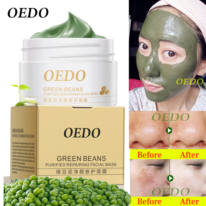 Hot Face Cleansing Mung Bean Mud Peeling Acne Blackhead Behandlingsmaske Remover Kontraktive Pore Whitening Hydrating Care Creams